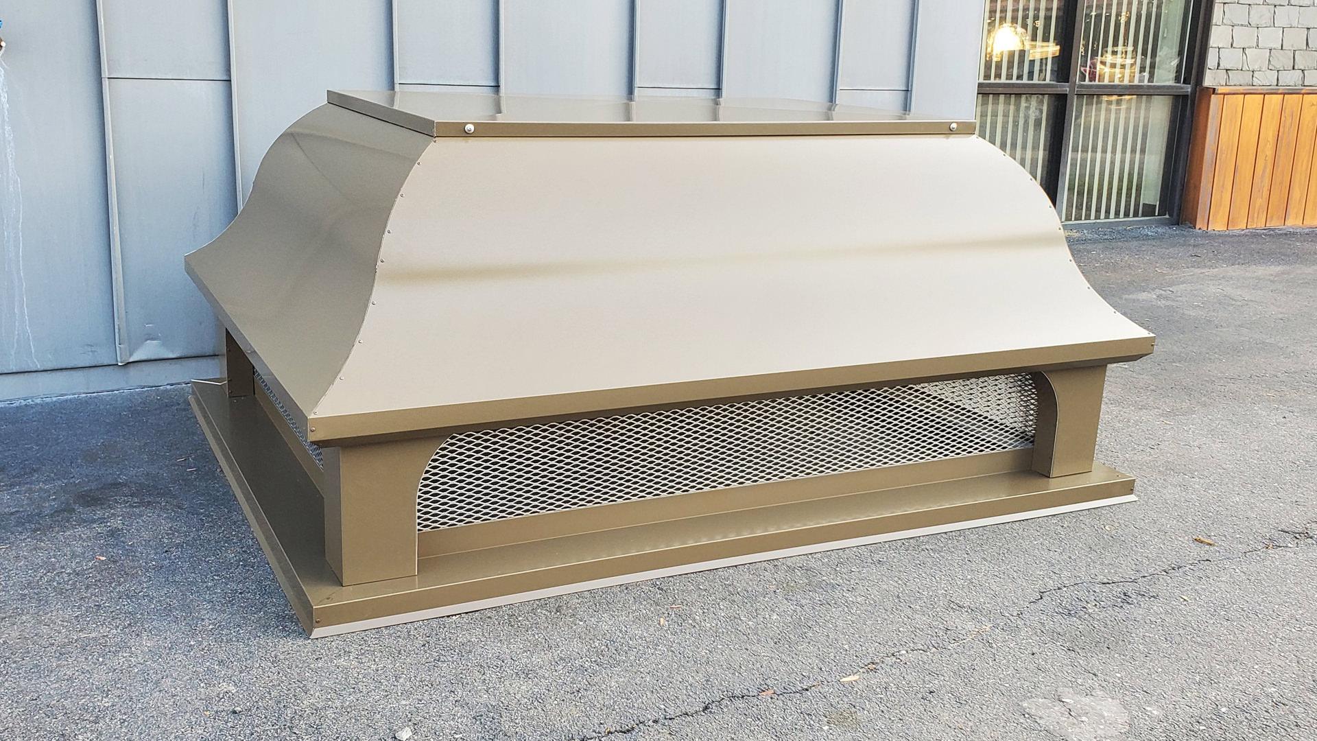Bell roof custom Kynar aluminum medium bronze chimney cap