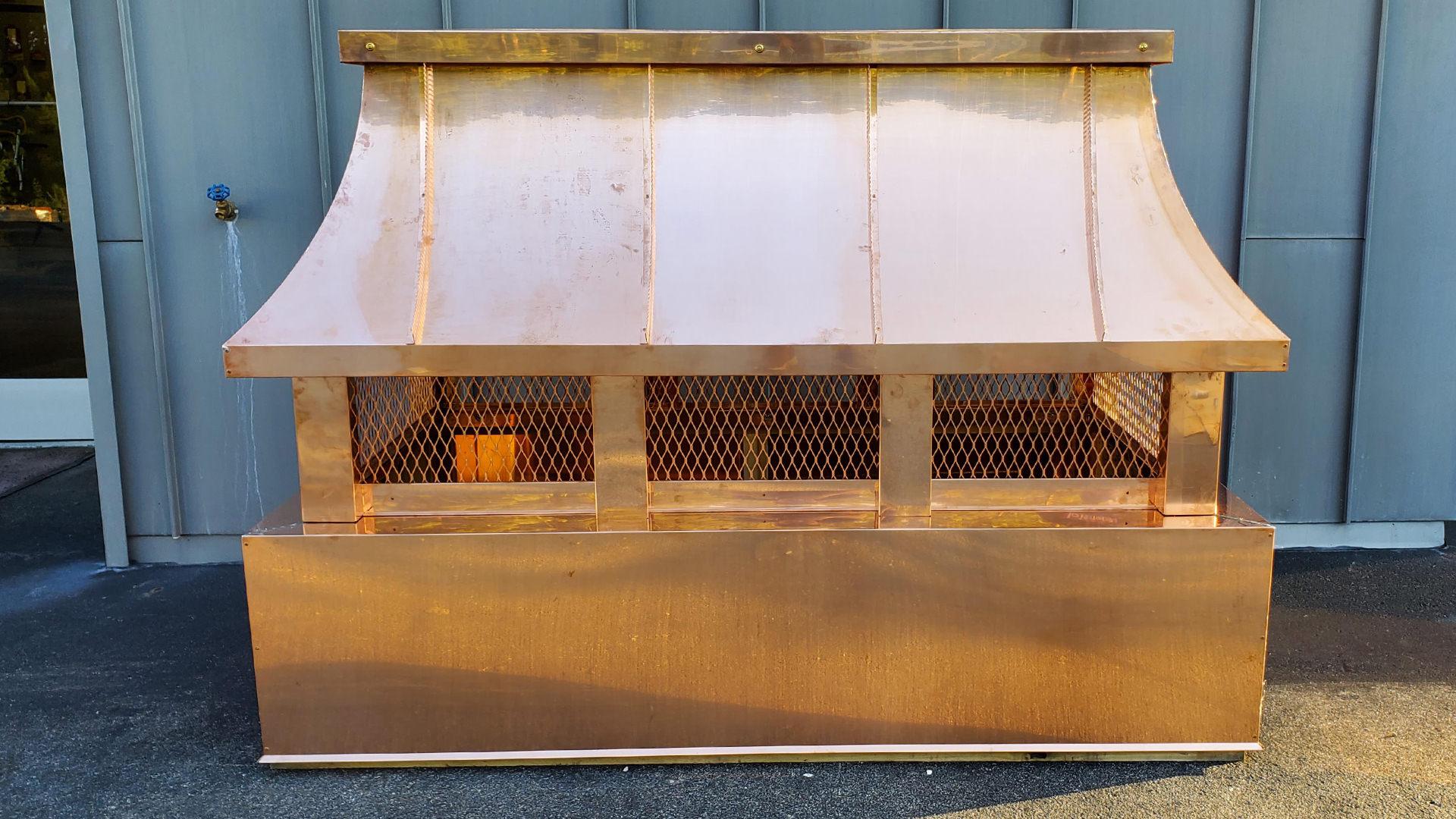 CC101 - Radius copper roof standing seam multi flue chimney cap