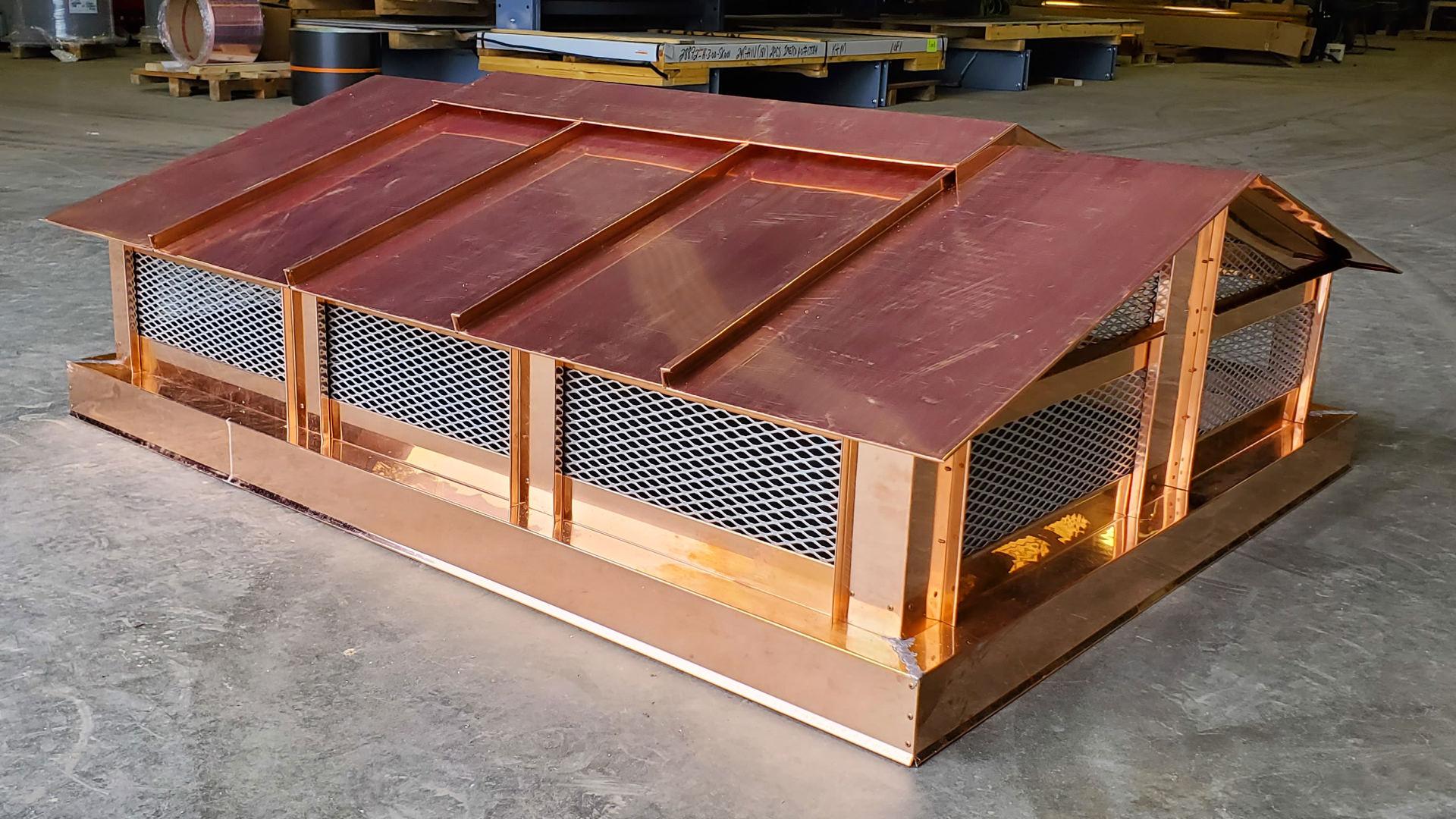 CC102 - Roof rake style standing seam copper chimney cap