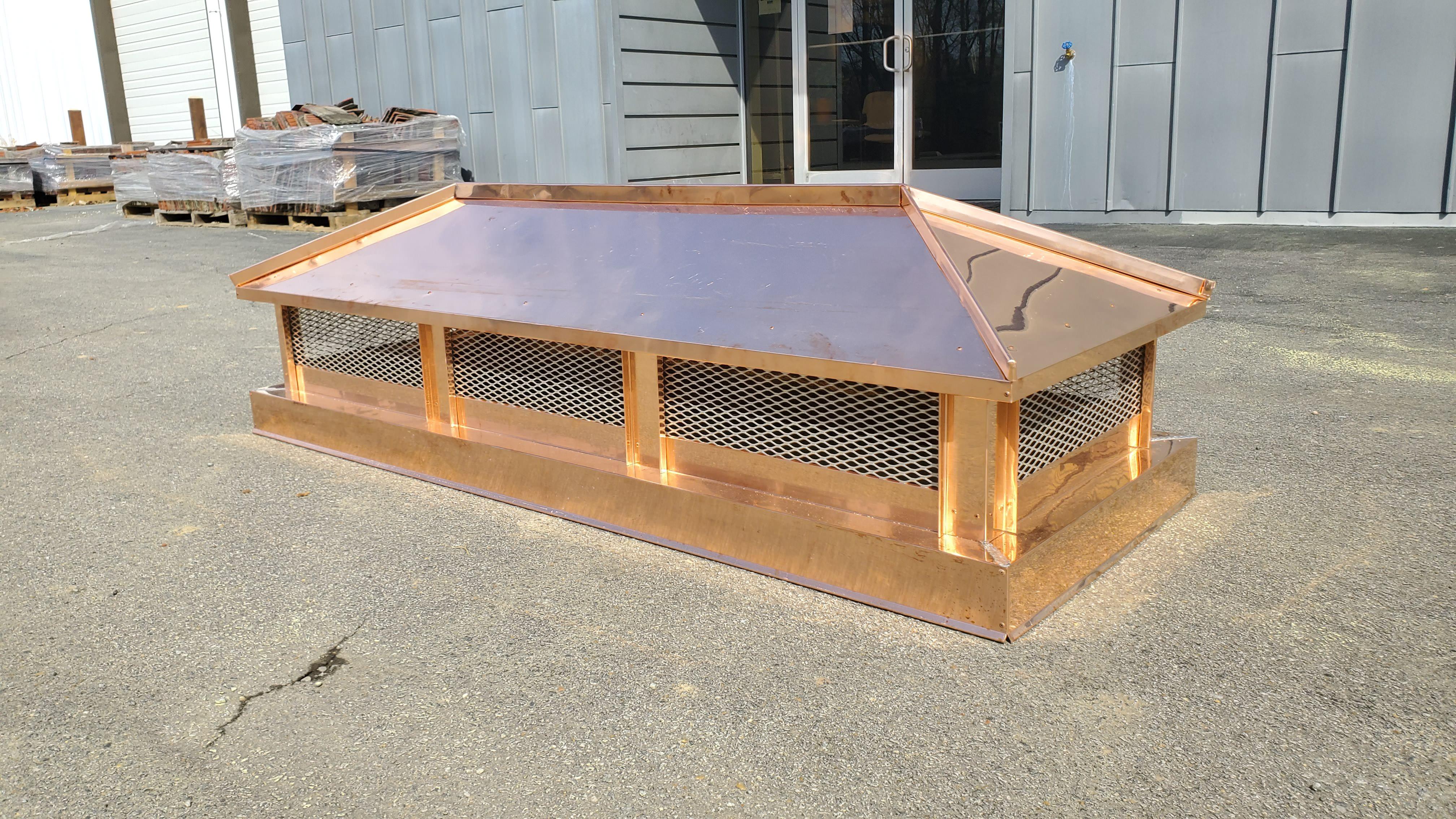 CC103 - Copper hip and ridge roof - custom chimney cap