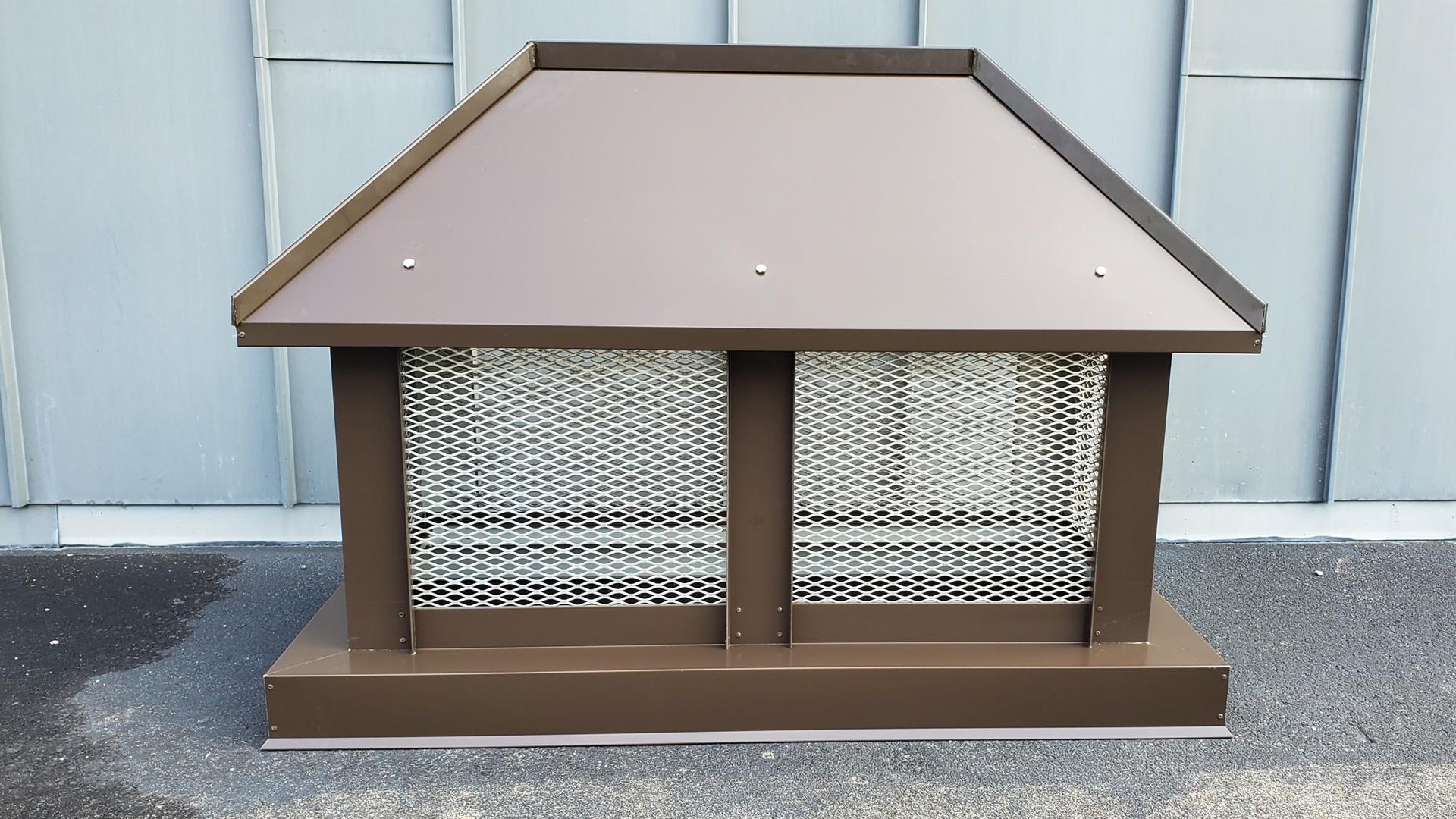 CC103 - Dark bronze steel standing seam custom chimney cap