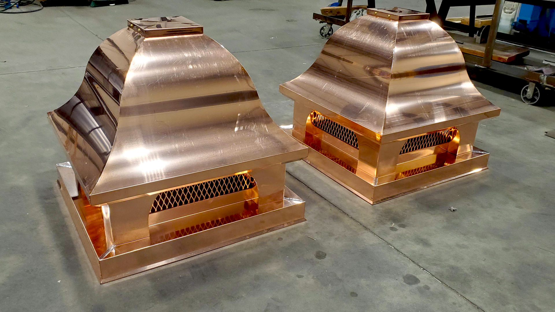 Bell roof decorative copper chimney caps