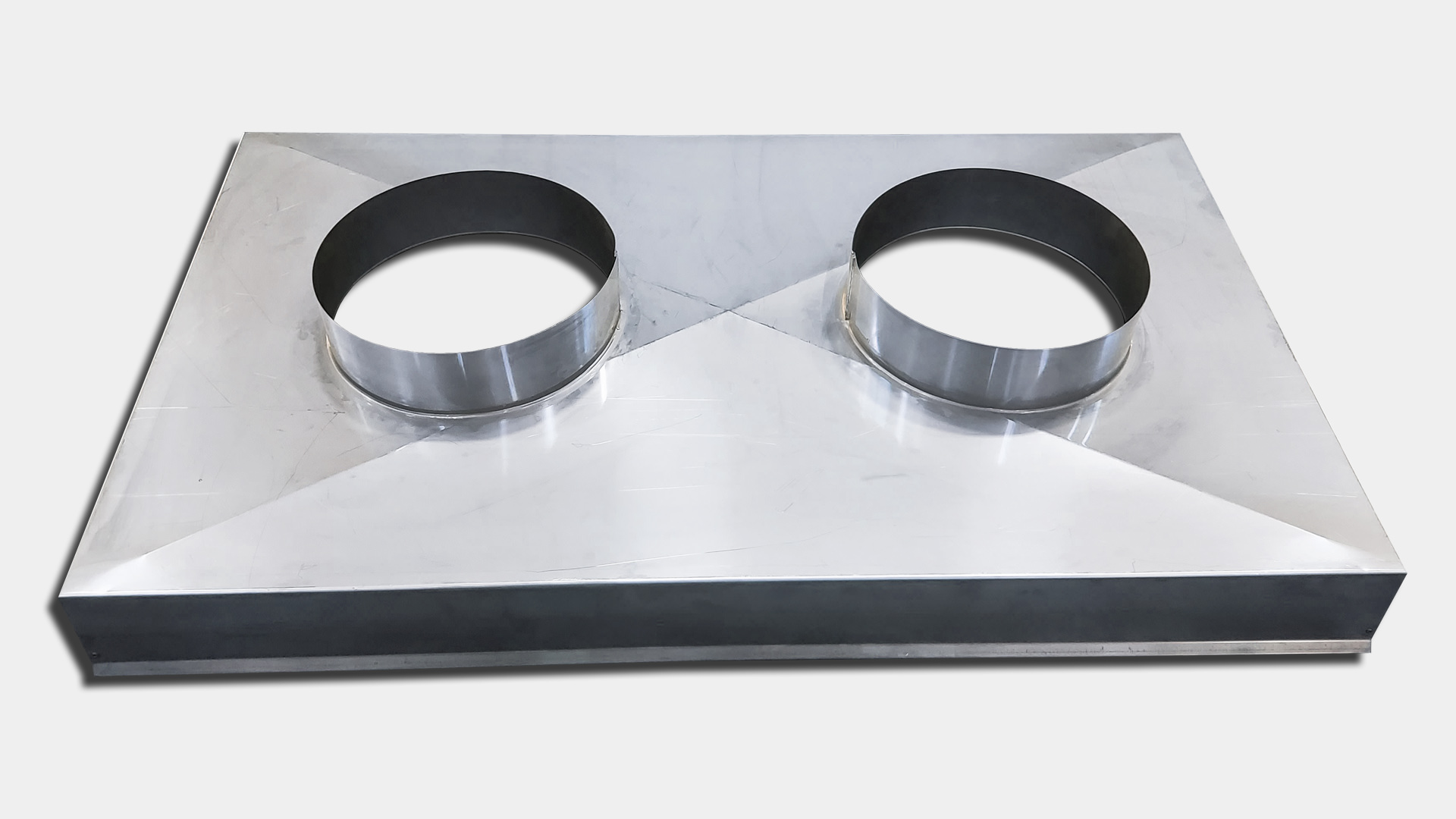 CC200 - Stainless steel economy chase cover with 2 flue holes
