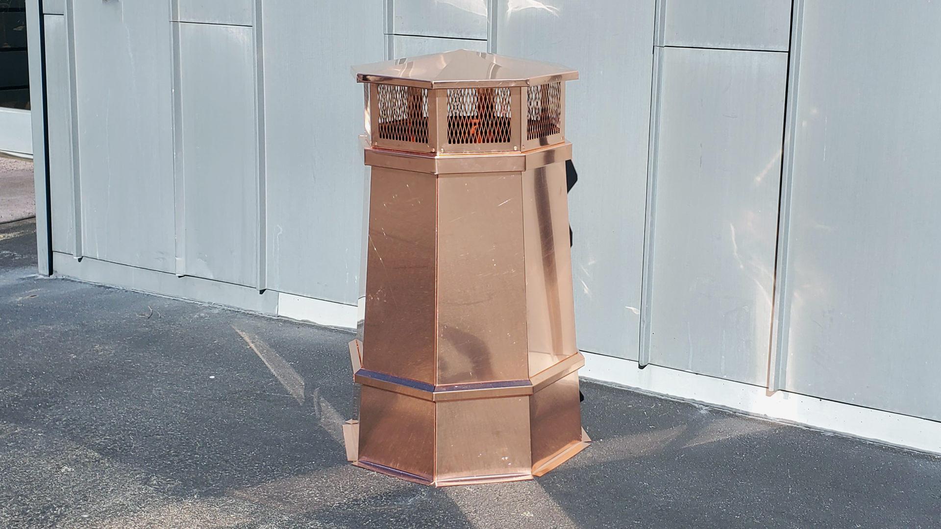 Custom decorative copper chimney pot - flue