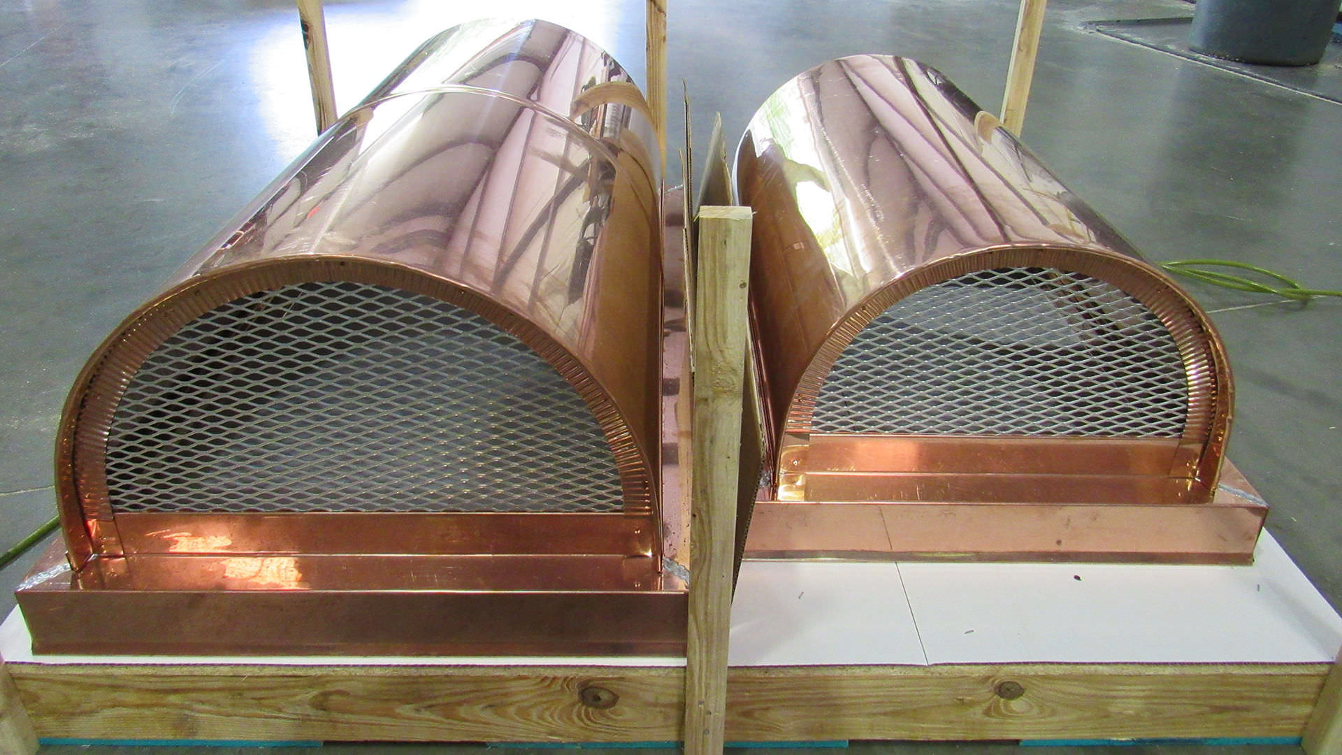 Half round roof copper chimney caps - shipping image
