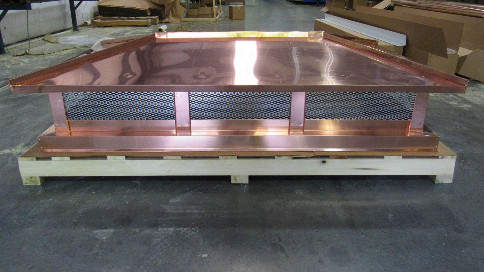 Hip roof copper multi flue chimney cap - shipping image