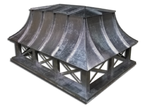 Lead coated copper chimney cap with concave metal roof panels