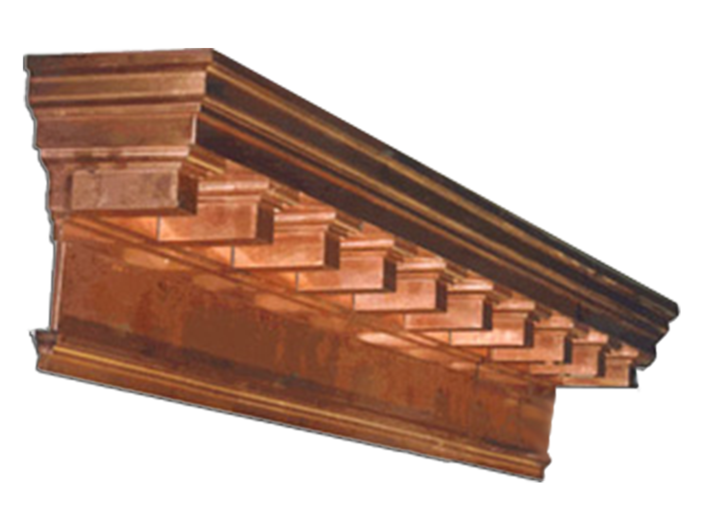 Copper cornice with dentil details