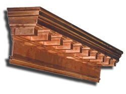 Copper cornice with dentil