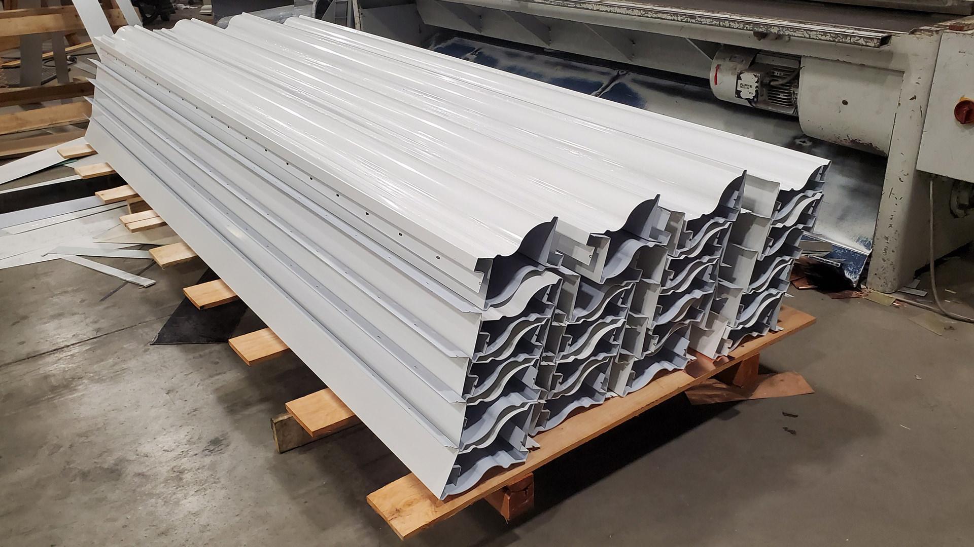 White Kynar aluminum custom cornice pallet