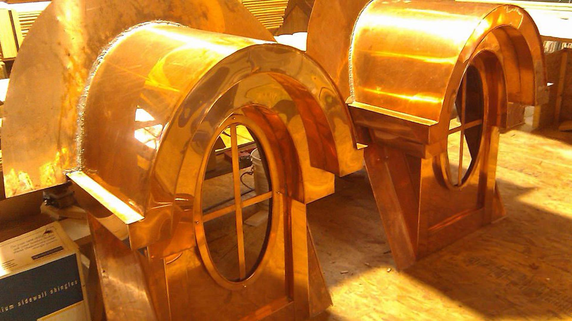Custom ornamental window copper dormers