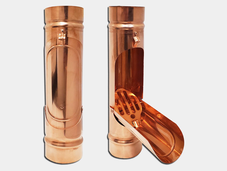 Plain round copper downspout cleanout