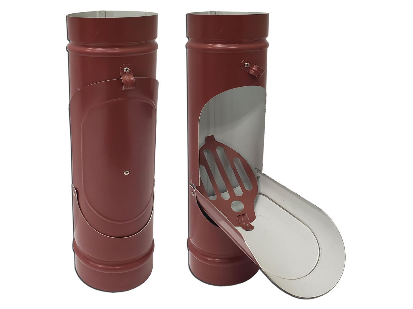Plain round kynar steel colonial red downspout cleanout for leaves