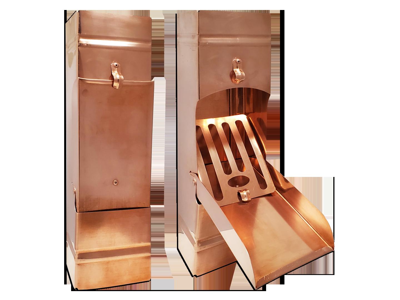 Plain square copper downspout cleanout