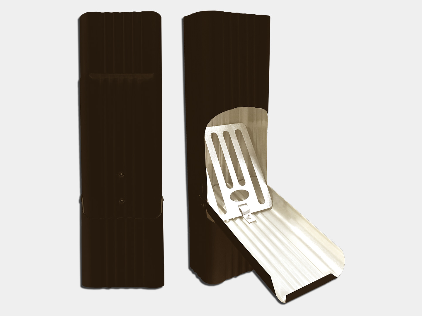 Square corrugated black steel downspout cleanout for leaves