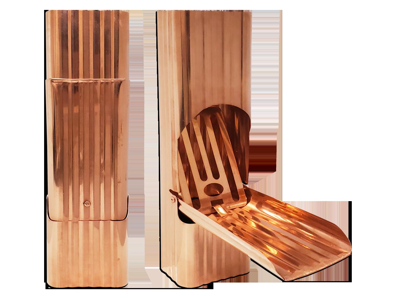Square corrugated copper downspout cleanout