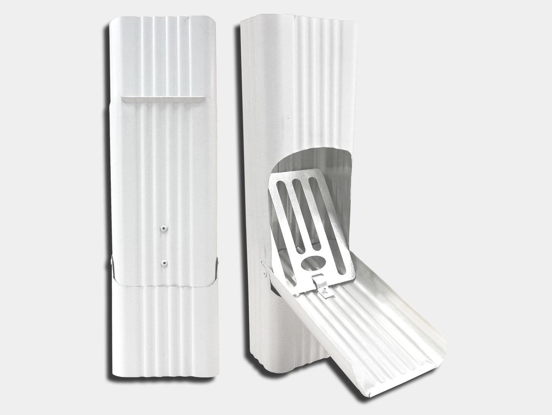 Square corrugated white aluminum downspout leaf cleanout