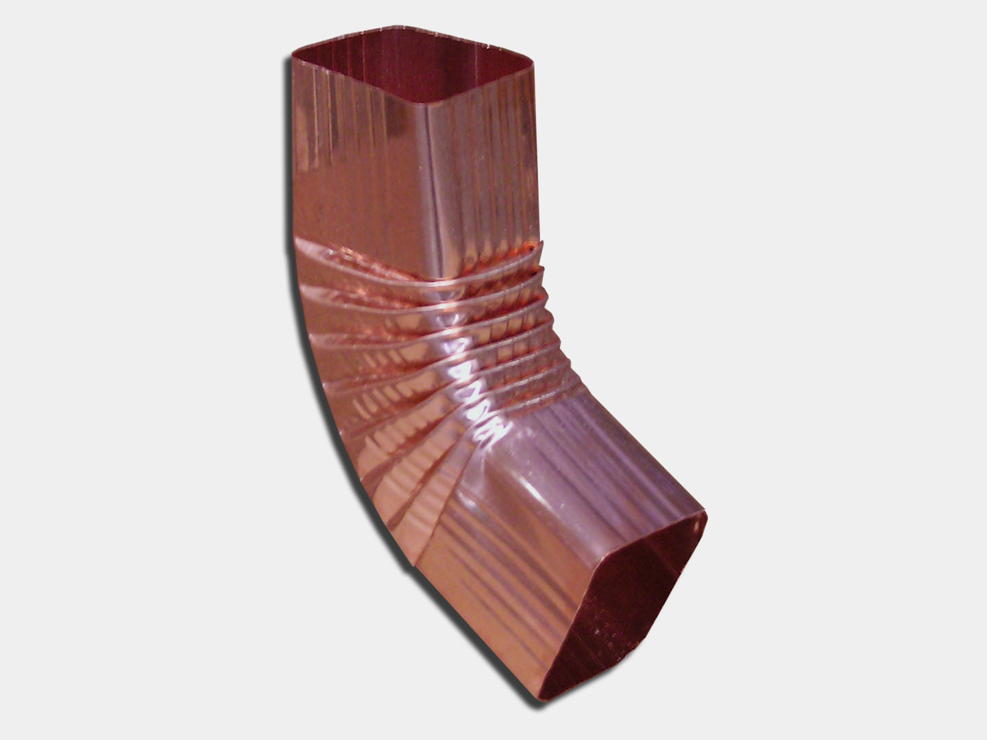 Square corrugated copper b elbow for downspout