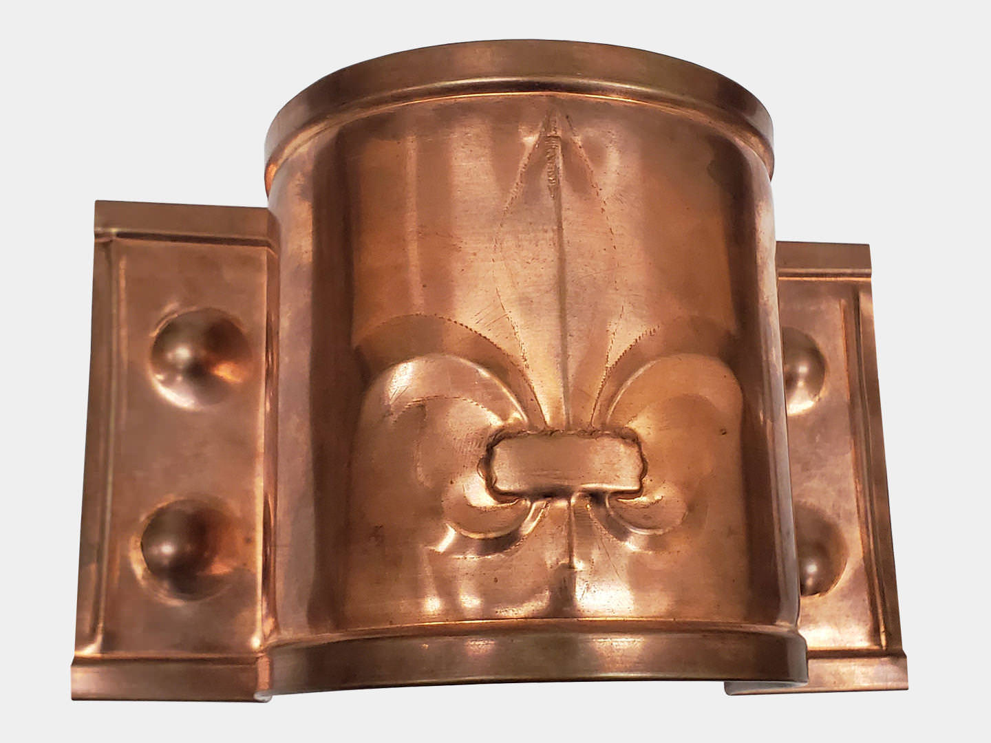 Custom stamped plain round-copper downspout strap / band