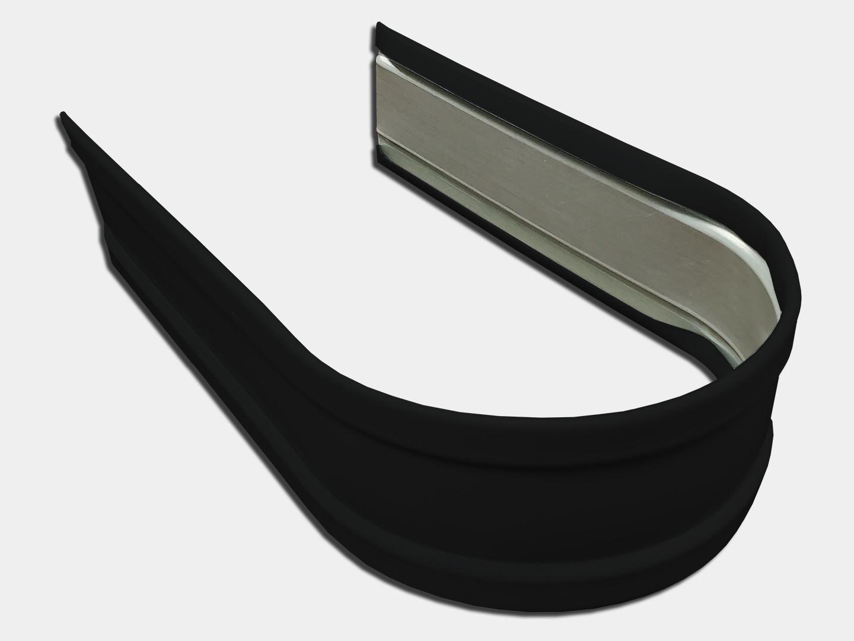 Plain round black aluminum downspout strap