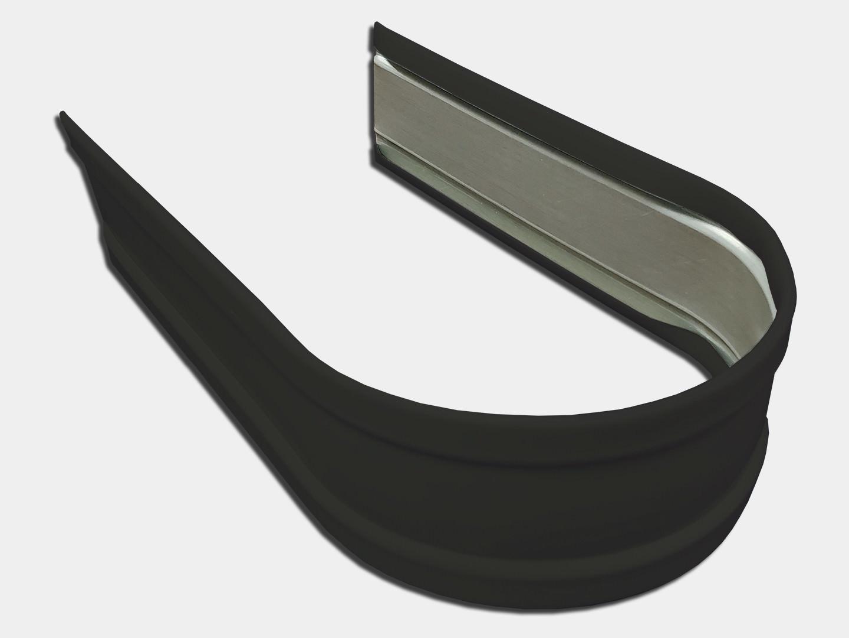 Plain round dark bronze steel downspout strap