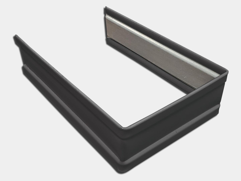 Plain square dark bronze aluminum downspout strap