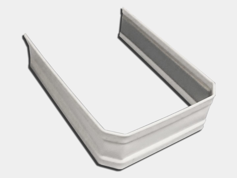 Square corrugated white aluminum downspout strap