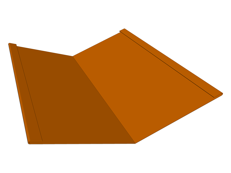 Standard valley roof flashing metal