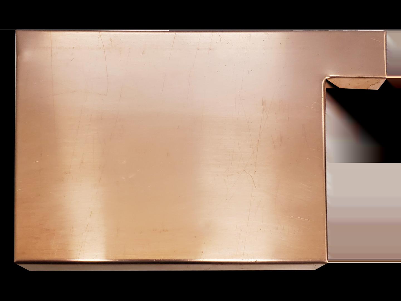 Commercial copper box gutter left end cap