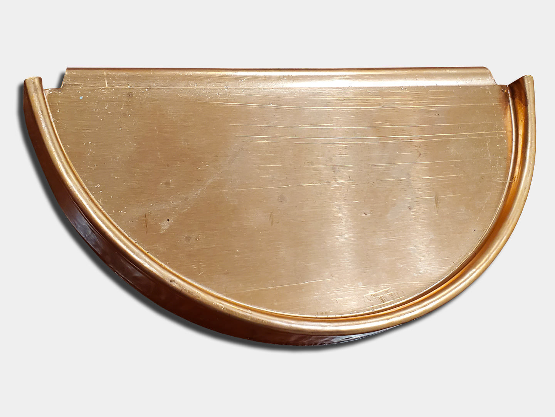 Half round gutter copper end cap