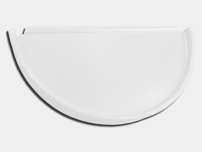 Half round gutter white aluminum end cap