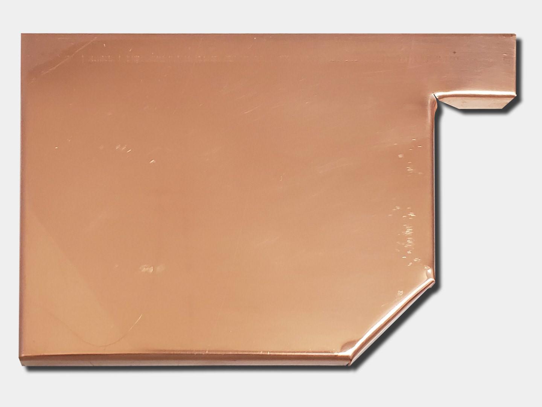 Residential box copper gutter left end cap
