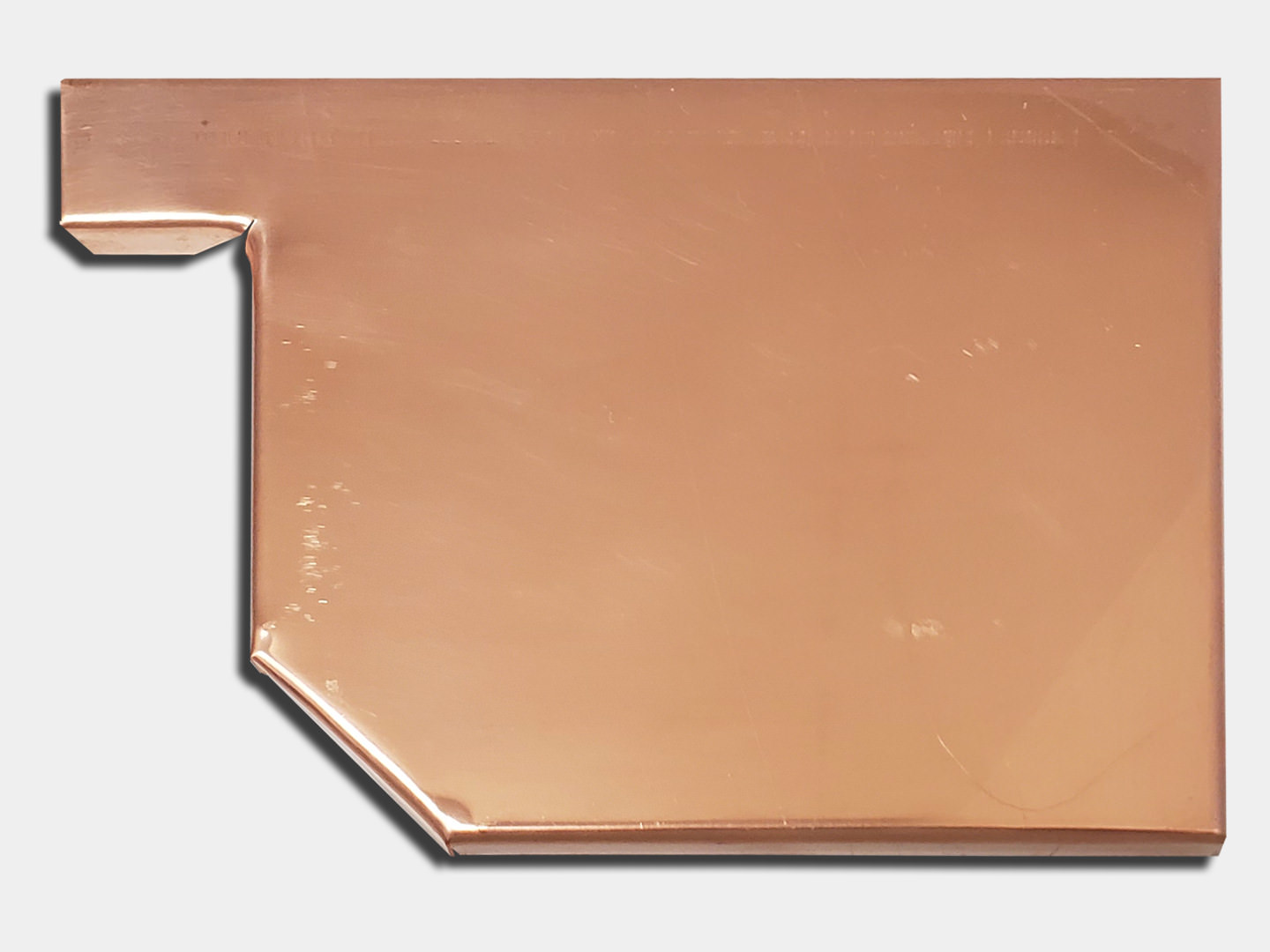 Residential box copper gutter right end cap