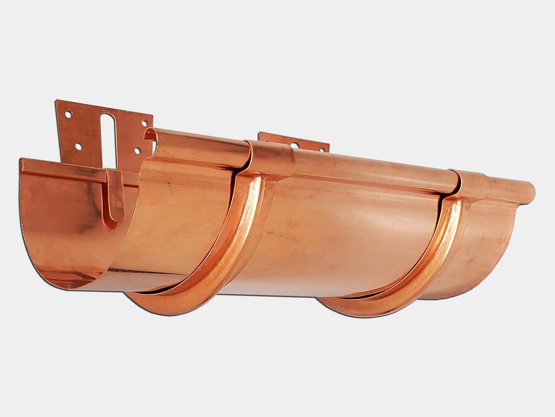 Copper half round gutter with stamped under mount hangers