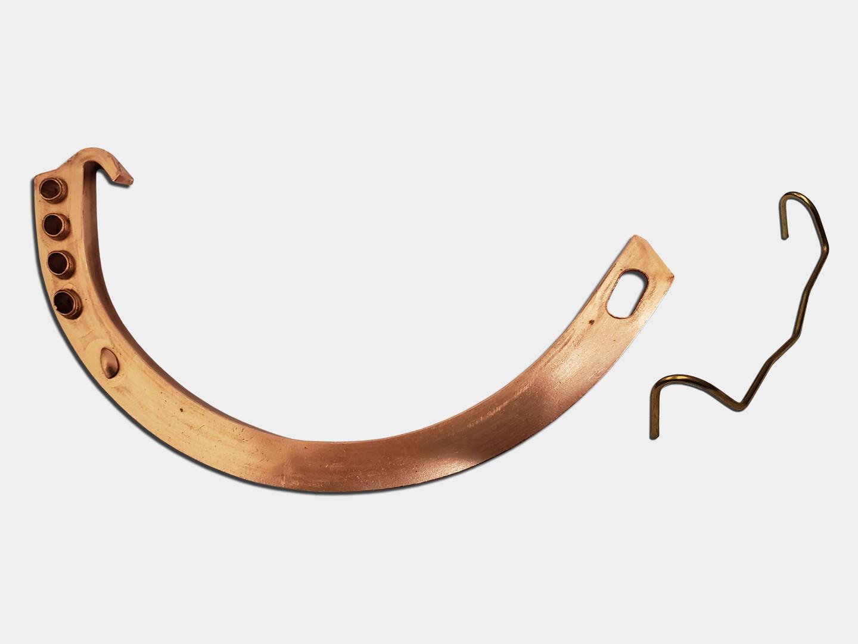 Gem circle half round gutter copper hanger with spring clip no shank