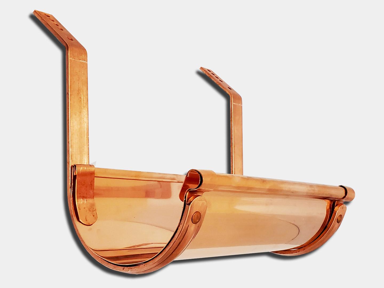 Roof mount pre-bent copper half-round gutter bar hanger #16