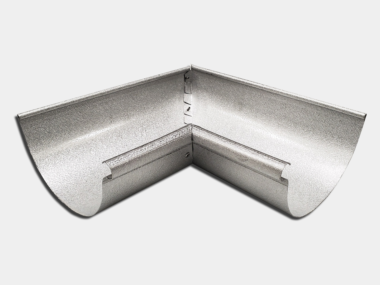 Half round reverse bead gutter inside miter - galvalume