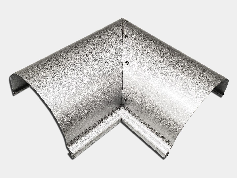 Half round gutter inside miter - reverse bead - galvalume plus