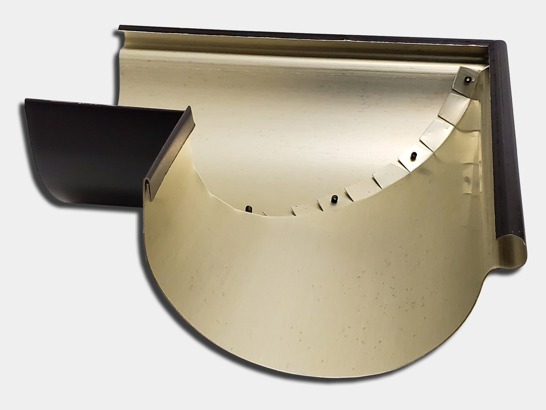 Half round gutter miter reverse bead outside - black steel