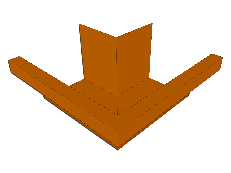 Industrial box gutter miter copper