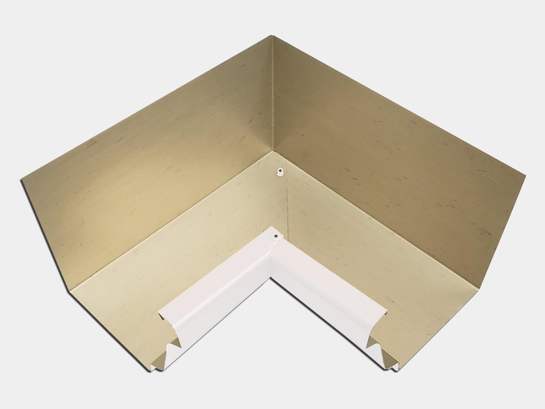 K-style gutter inside miter - white aluminum