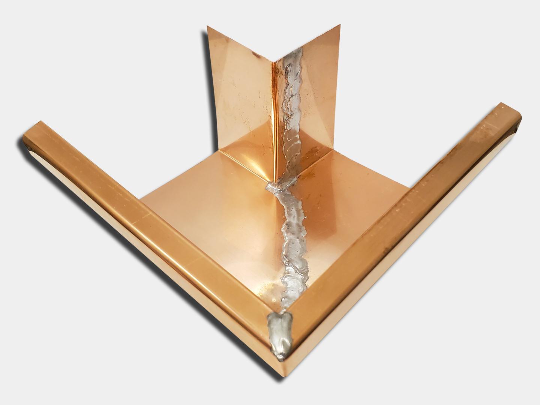 K-style gutter outside copper box miter