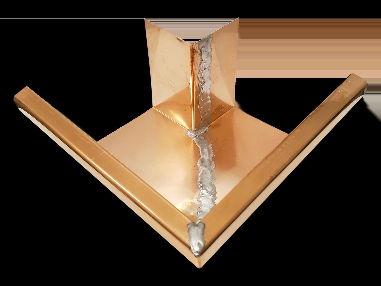 K-style gutter copper outside box miter