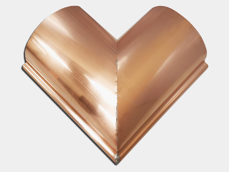 Reverse bead copper gutter - outside miter