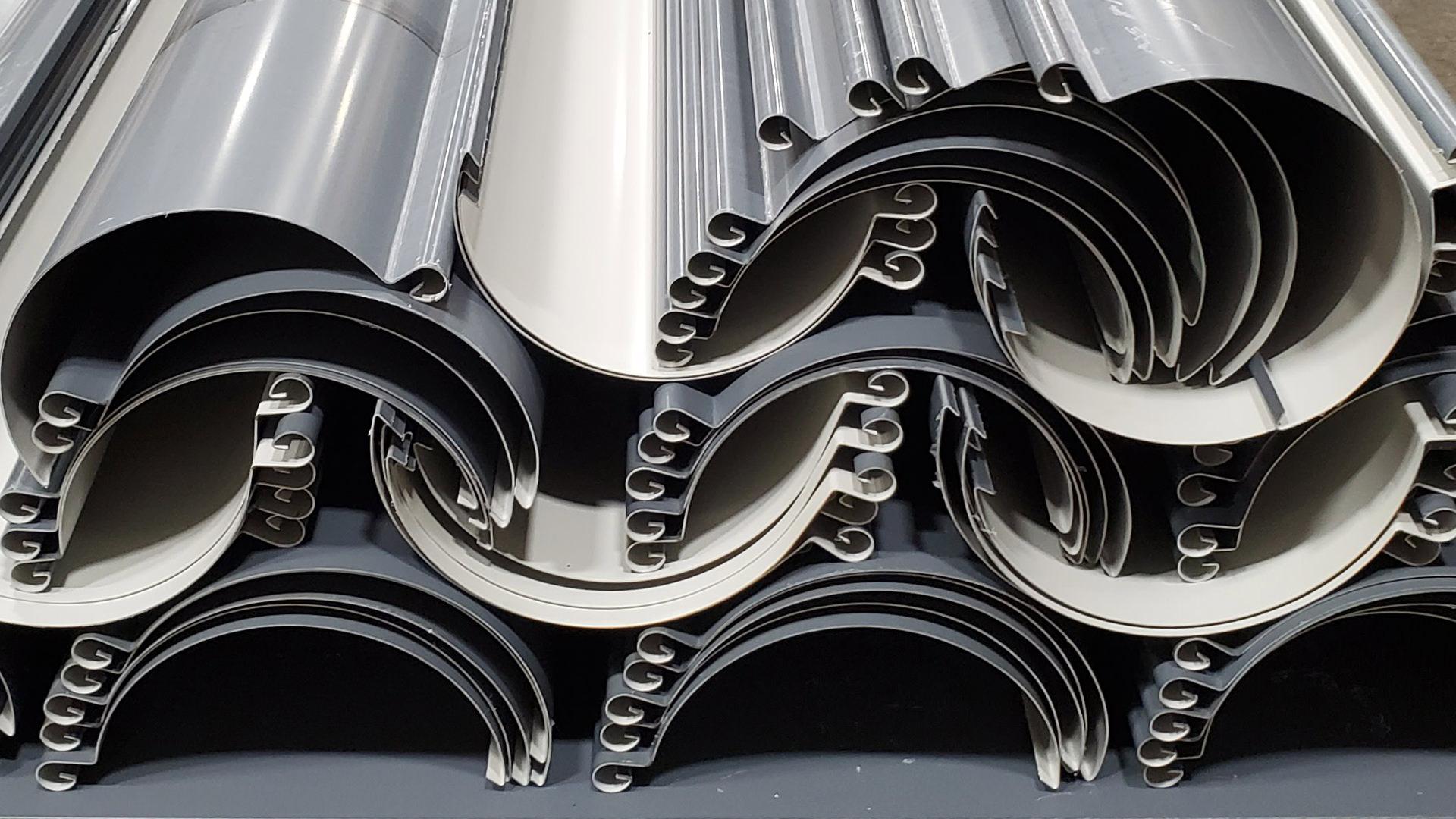 "8"" reverse bead aluminum gray half round gutters"