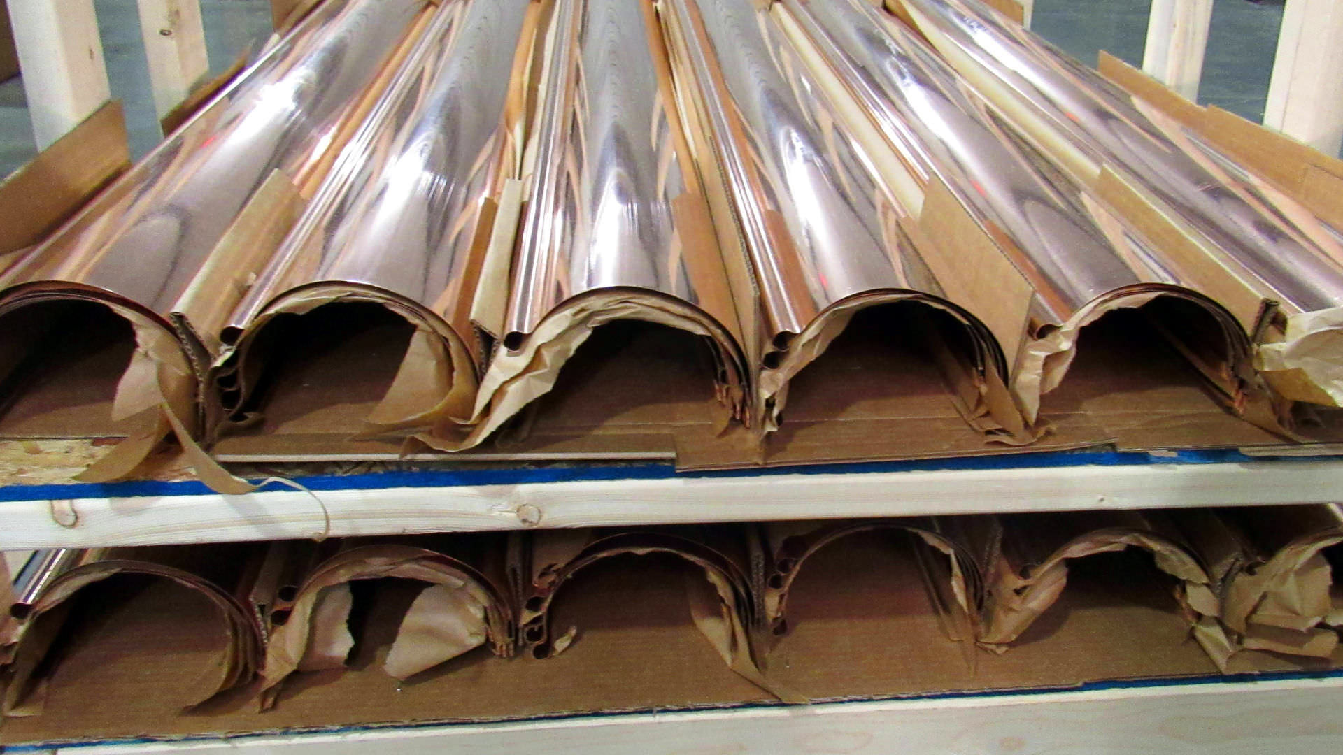 Reverse bead half-round copper gutters - shipped