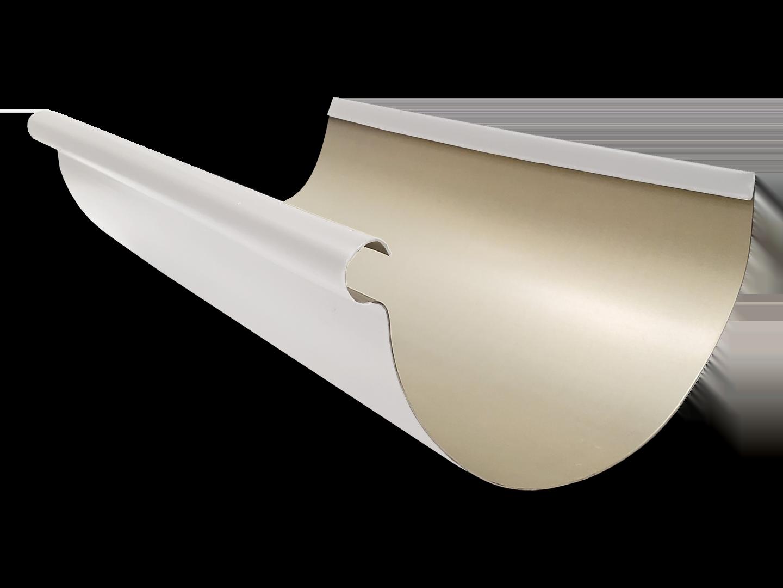 Reverse bead half-round gutter white aluminum