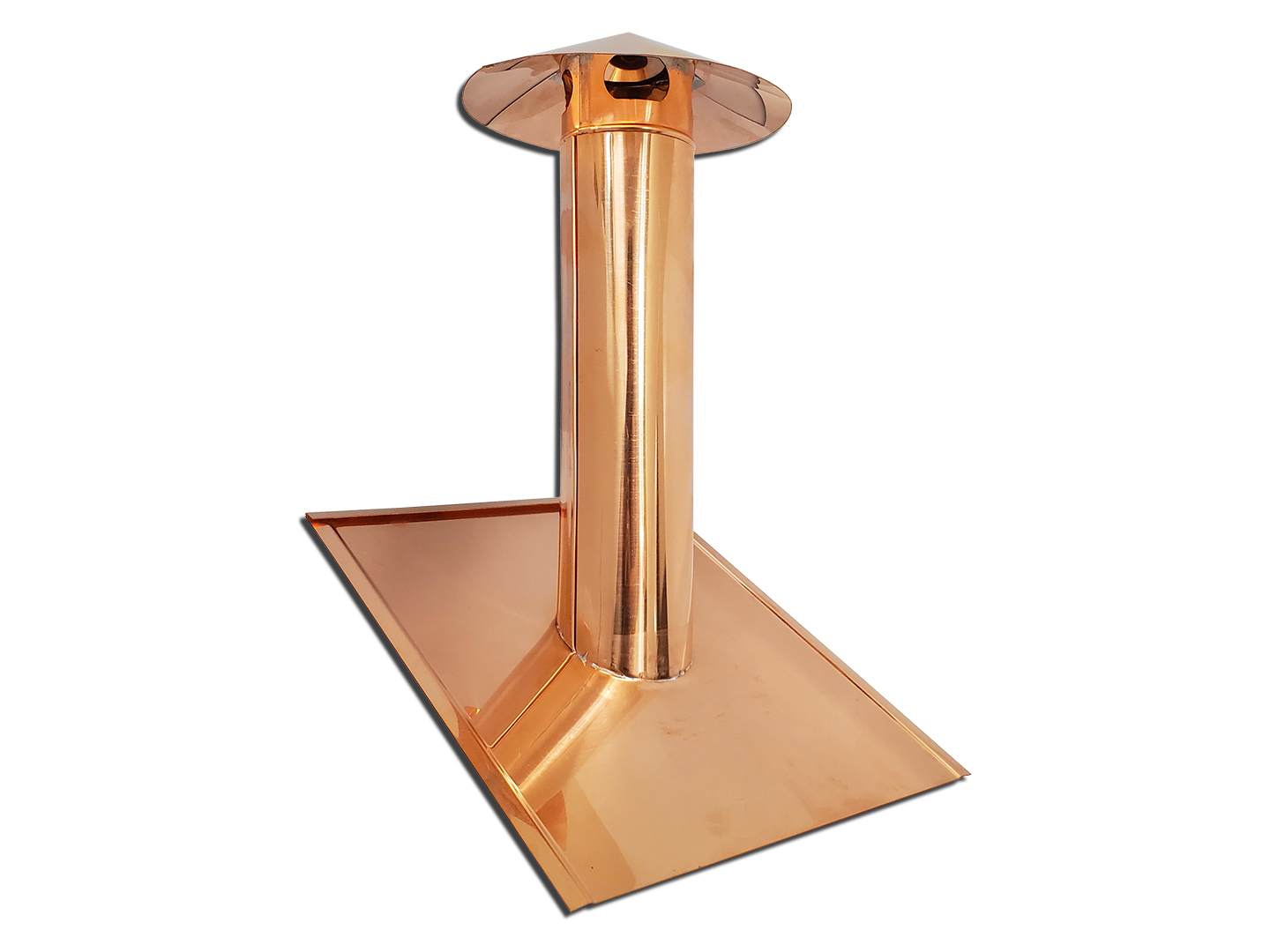 Copper pipe roof vent cover with mounting flange
